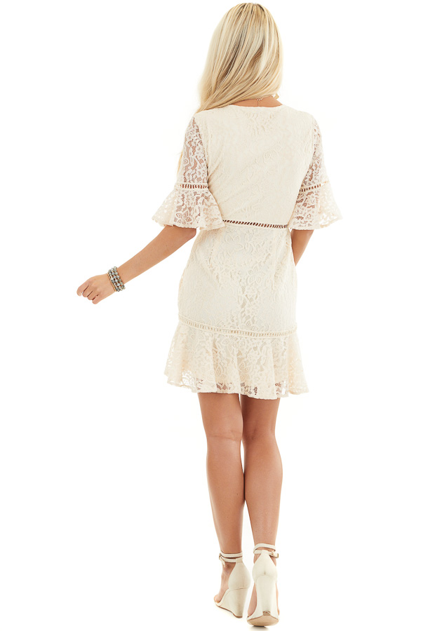 Cream Lace Mini Dress with Peek A Boo Crochet Details back full body
