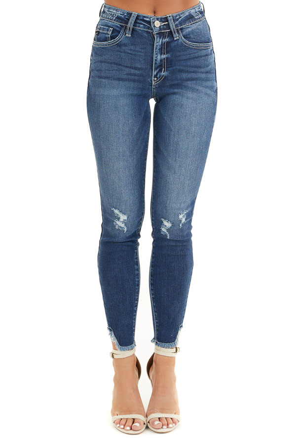 Dark Wash Ankle Length Skinny Jeans with Distressed Details front view