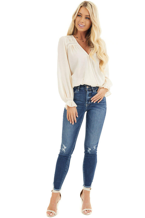 Dark Wash Ankle Length Skinny Jeans with Distressed Details front full body