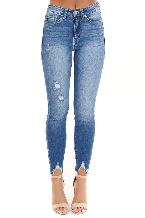 Medium Wash Ankle Length Skinny Jeans with Distressed Detail front view