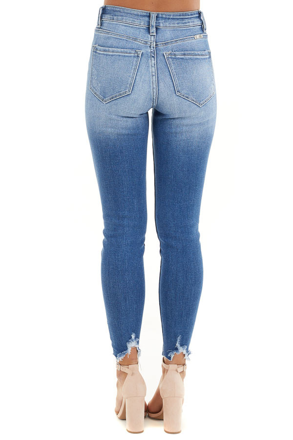 Medium Wash Ankle Length Skinny Jeans with Distressed Detail back view