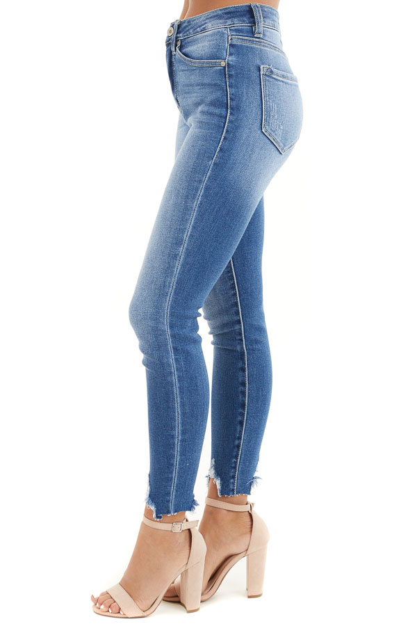 Medium Wash Ankle Length Skinny Jeans with Distressed Detail side view