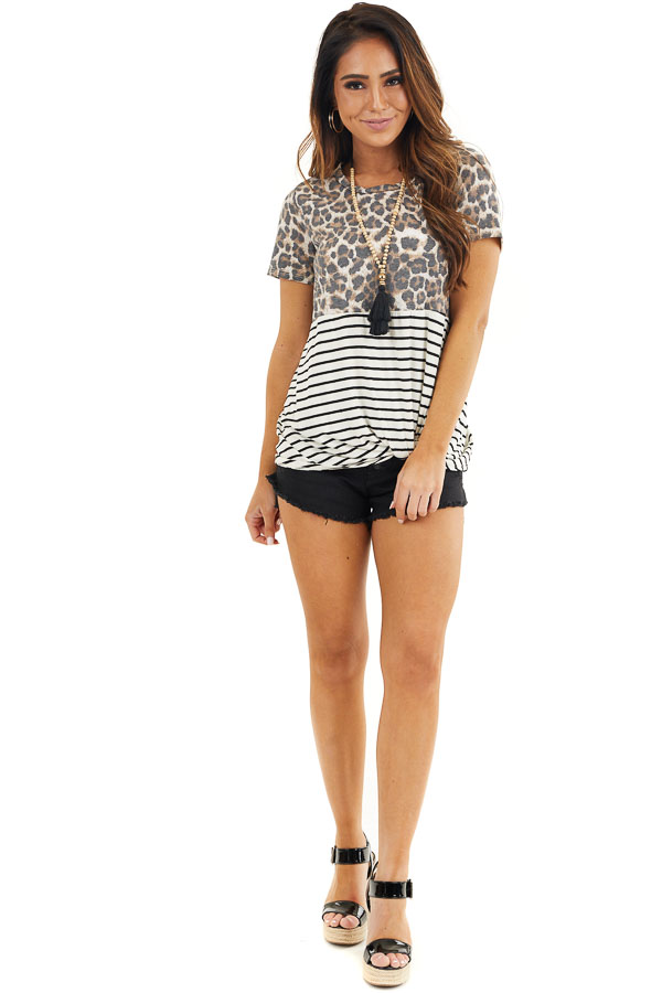 Ivory Leopard and Striped Color Block Top with Front Twist front full body