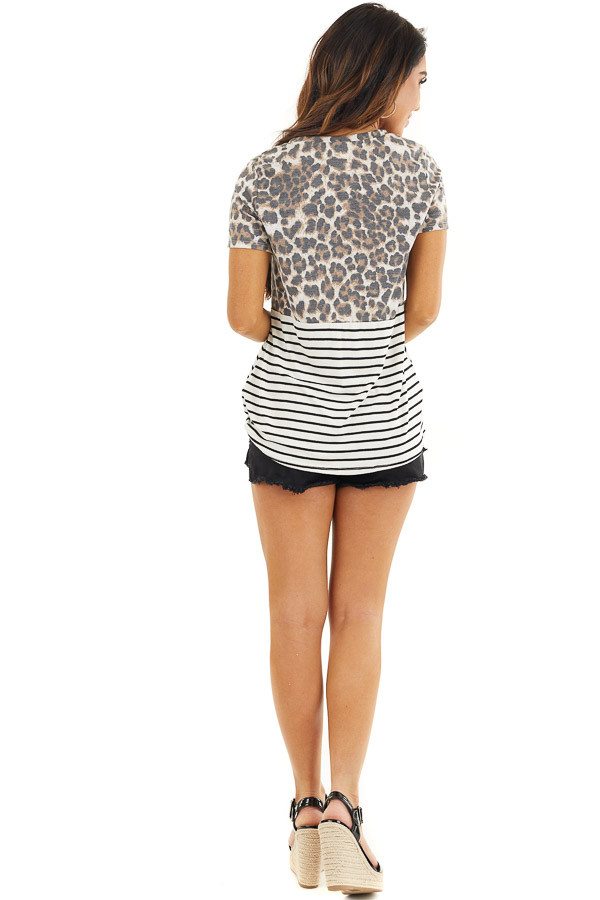 Ivory Leopard and Striped Color Block Top with Front Twist back full body