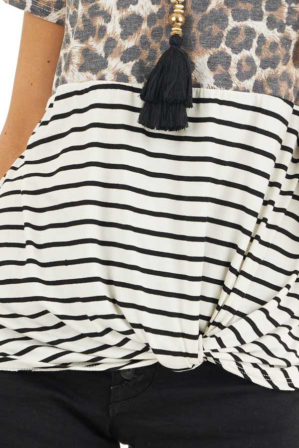 Ivory Leopard and Striped Color Block Top with Front Twist detail