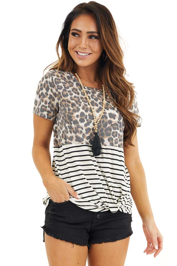 Ivory Leopard and Striped Color Block Top with Front Twist front close up
