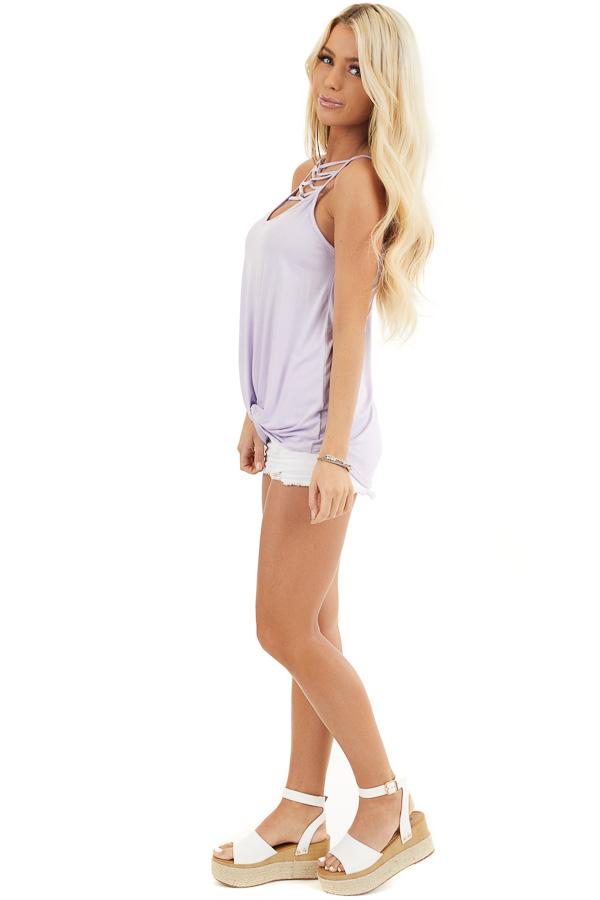 Lavender Knit Tank Top with Criss Cross and Knot Details side full body