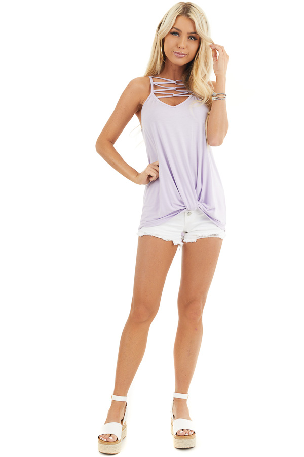 Lavender Knit Tank Top with Criss Cross and Knot Details front full body