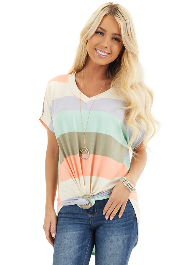 Multicolor Striped Knit Top with V Neck and Rounded Hemline front close up