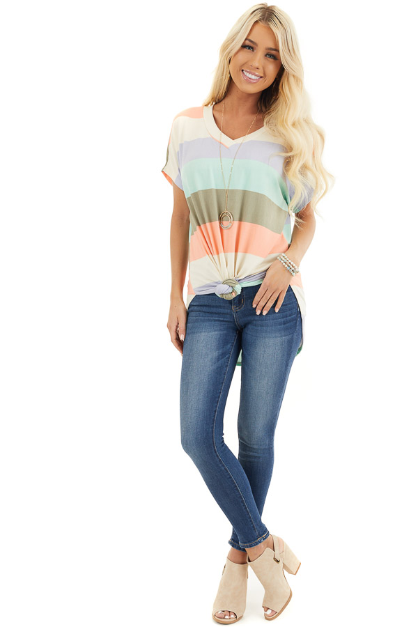 Multicolor Striped Knit Top with V Neck and Rounded Hemline front full body