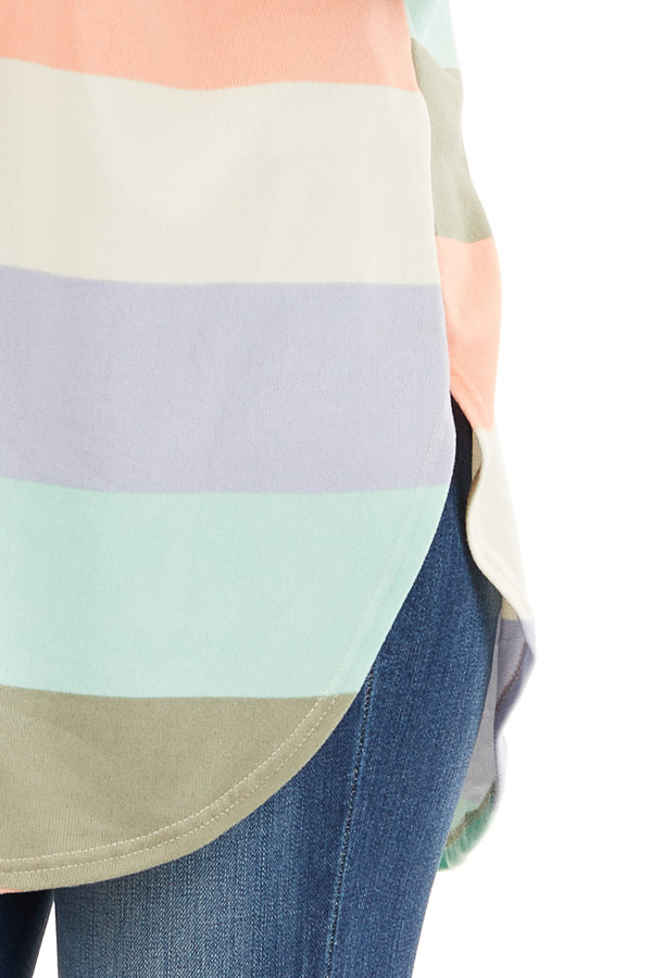 Multicolor Striped Knit Top with V Neck and Rounded Hemline detail
