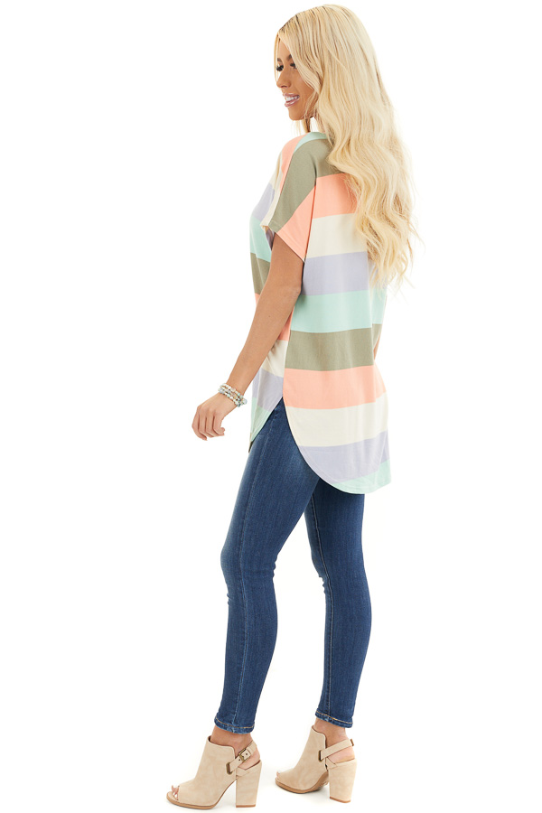 Multicolor Striped Knit Top with V Neck and Rounded Hemline side full body