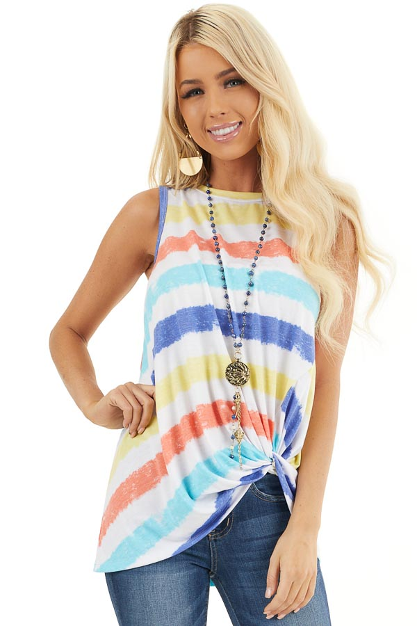 Multicolor Striped Tank Top with Front Twist Detail front close up