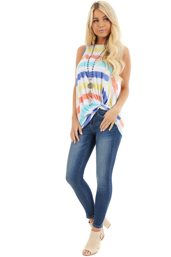 Multicolor Striped Tank Top with Front Twist Detail front full body