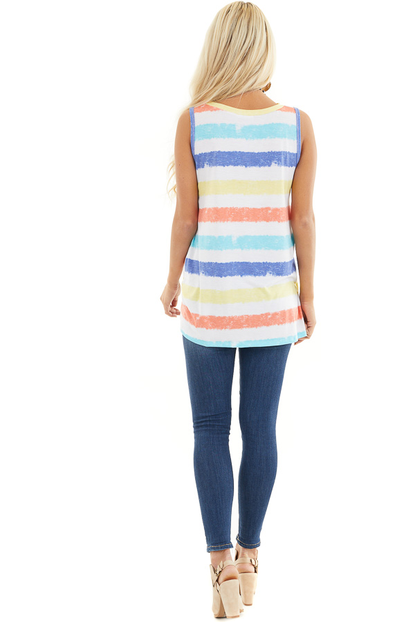 Multicolor Striped Tank Top with Front Twist Detail back full body