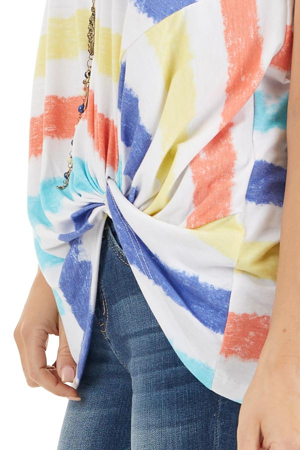 Multicolor Striped Tank Top with Front Twist Detail detail