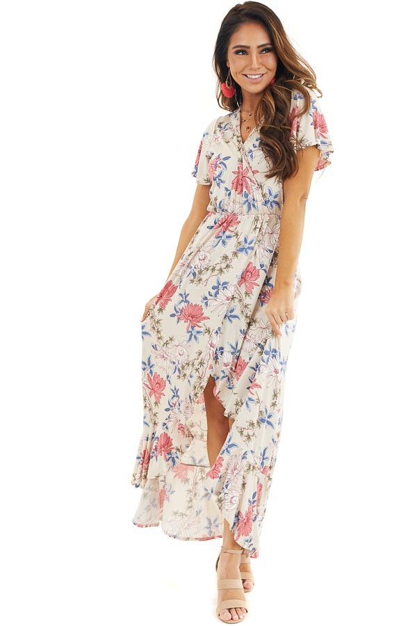 Champagne Floral Print High Low Wrap Maxi Dress with Ruffles front full body