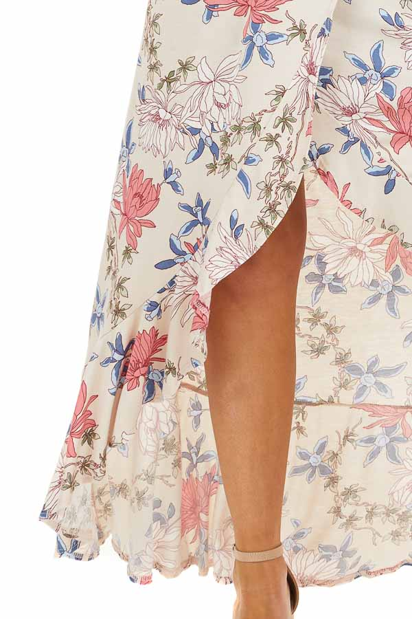 Champagne Floral Print High Low Wrap Maxi Dress with Ruffles detail