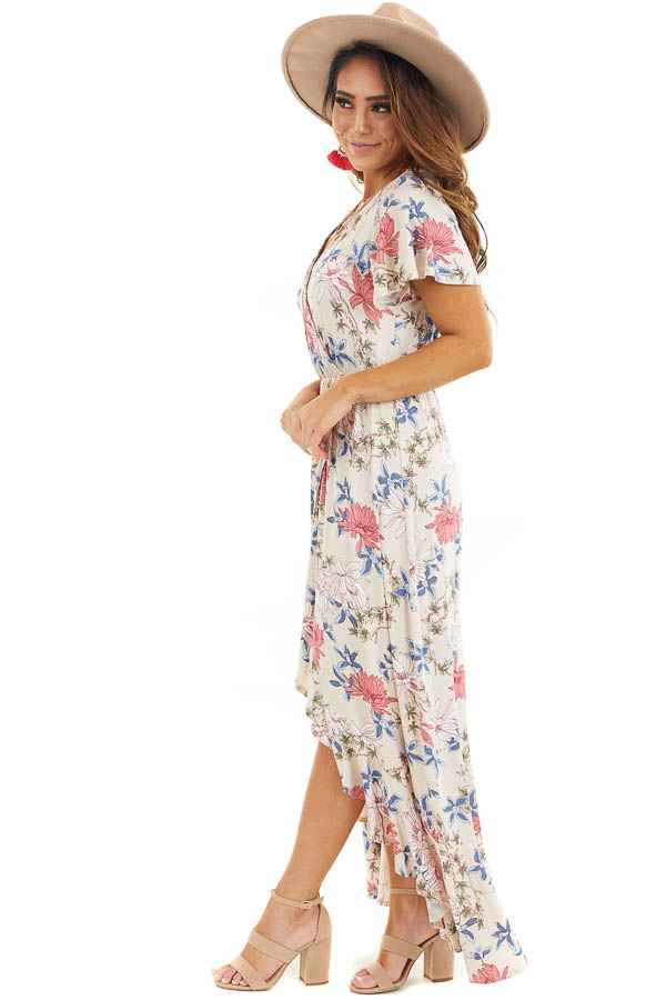 Champagne Floral Print High Low Wrap Maxi Dress with Ruffles side full body