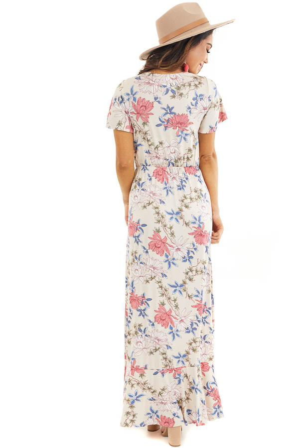 Champagne Floral Print High Low Wrap Maxi Dress with Ruffles back full body
