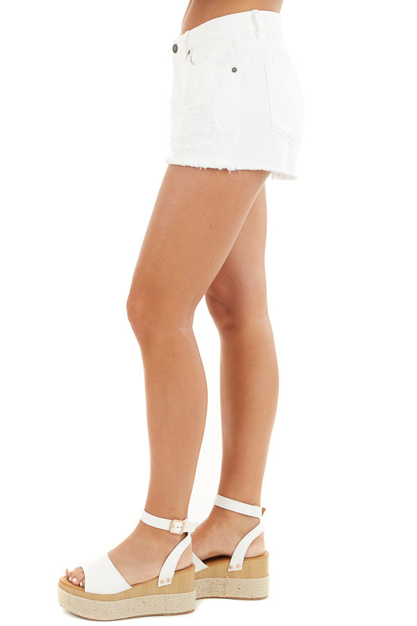 White Distressed Mid Rise Denim Shorts with Frayed Hem side view