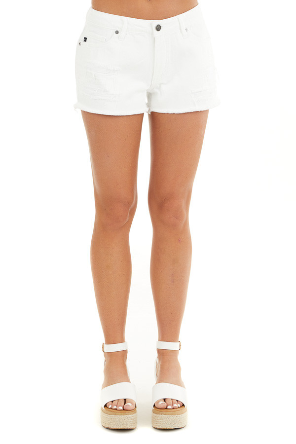 White Distressed Mid Rise Denim Shorts with Frayed Hem front view