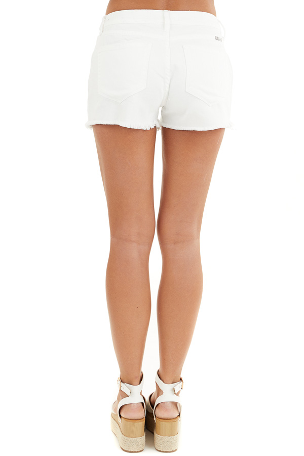 White Distressed Mid Rise Denim Shorts with Frayed Hem back view