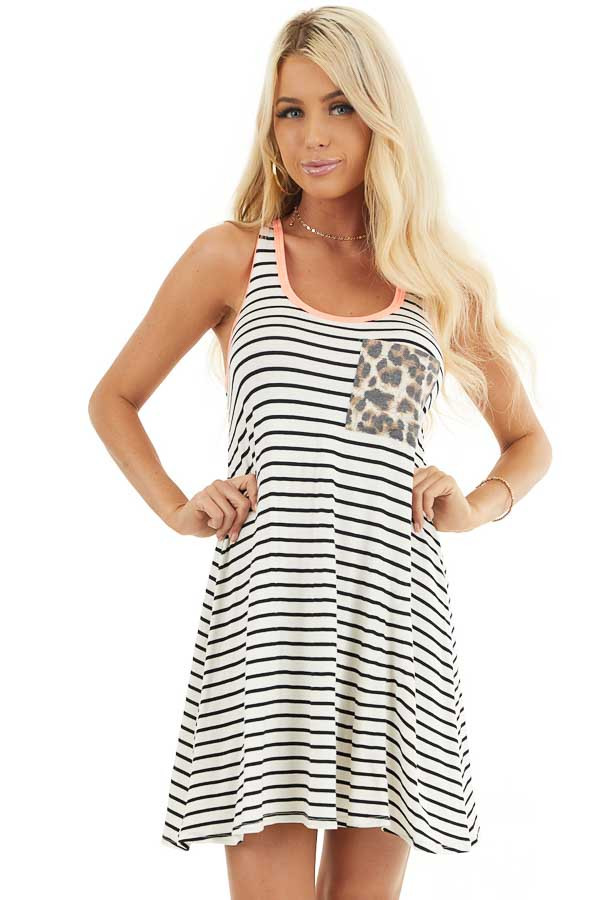 White and Black Striped Racerback Dress with Leopard Pocket front close up