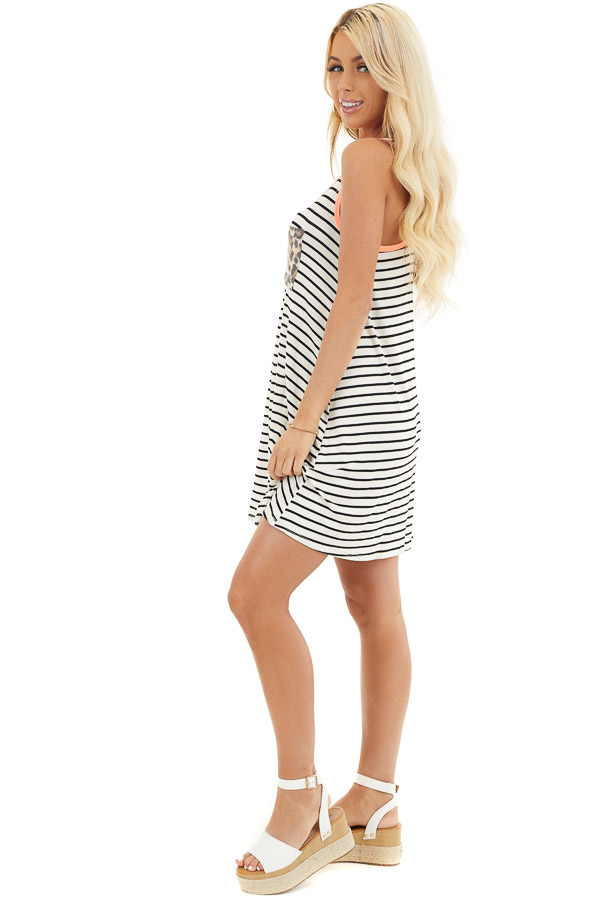 White and Black Striped Racerback Dress with Leopard Pocket side full body