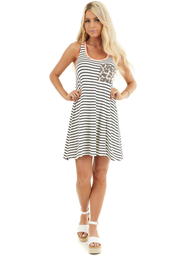 White and Black Striped Racerback Dress with Leopard Pocket front full body