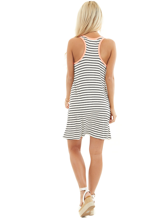 White and Black Striped Racerback Dress with Leopard Pocket back full body