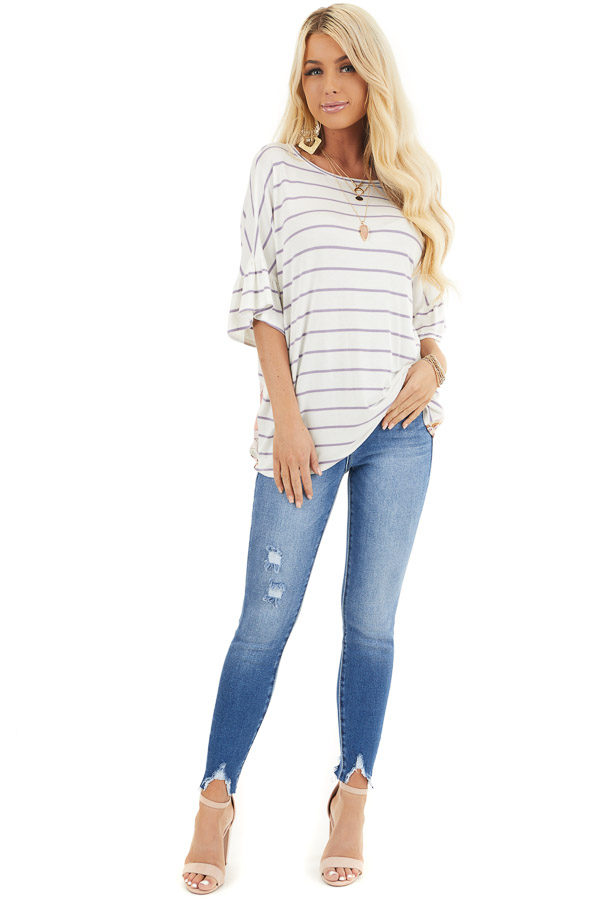 Ivory and Lavender Striped Top with Floral Print Back Detail front full body