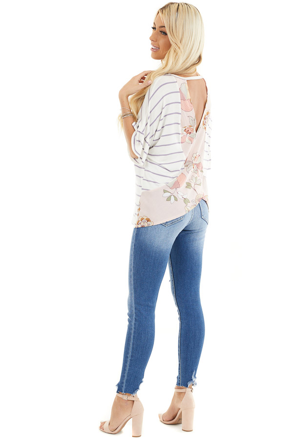 Ivory and Lavender Striped Top with Floral Print Back Detail side full body