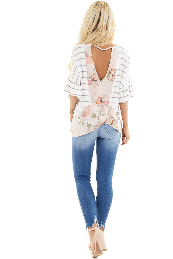 Ivory and Lavender Striped Top with Floral Print Back Detail back full body