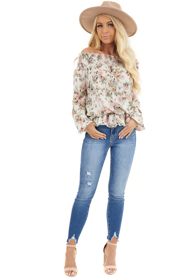 Ivory Floral Print Off Shoulder Smocked Blouse with Ruffles front full body