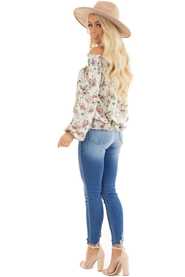 Ivory Floral Print Off Shoulder Smocked Blouse with Ruffles side full body