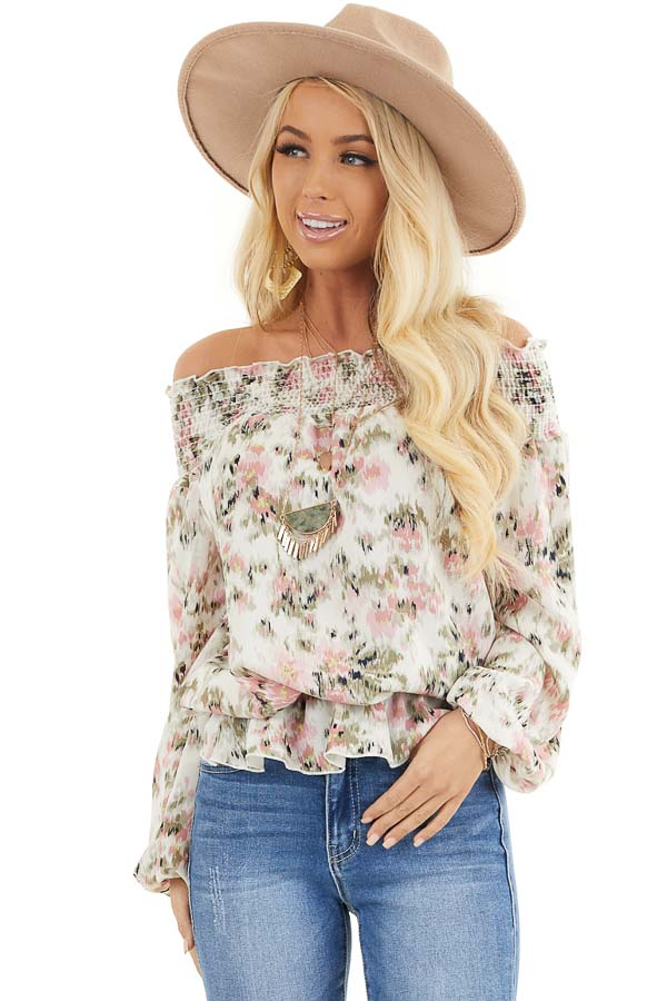 Ivory Floral Print Off Shoulder Smocked Blouse with Ruffles front close up