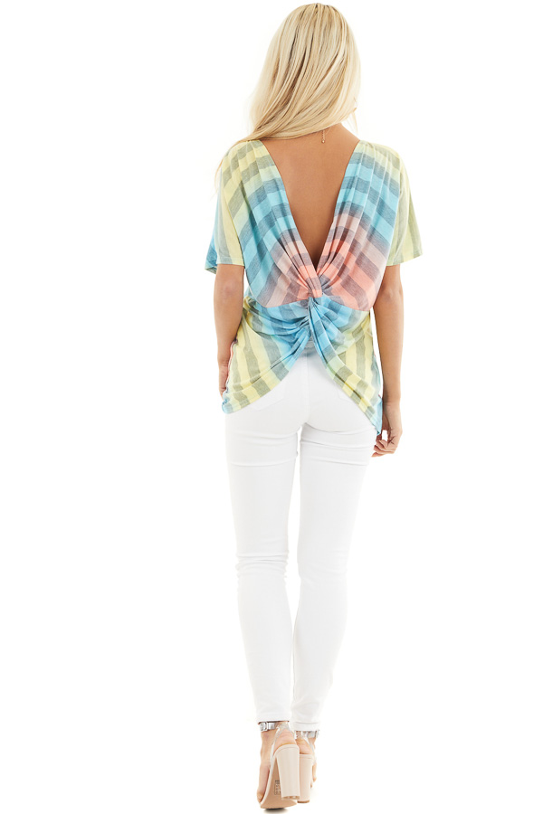 Blue Pink and Yellow Ombre Striped Top with Open Twist Back back full body