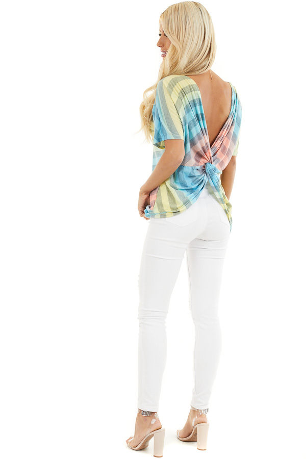 Blue Pink and Yellow Ombre Striped Top with Open Twist Back back side full body