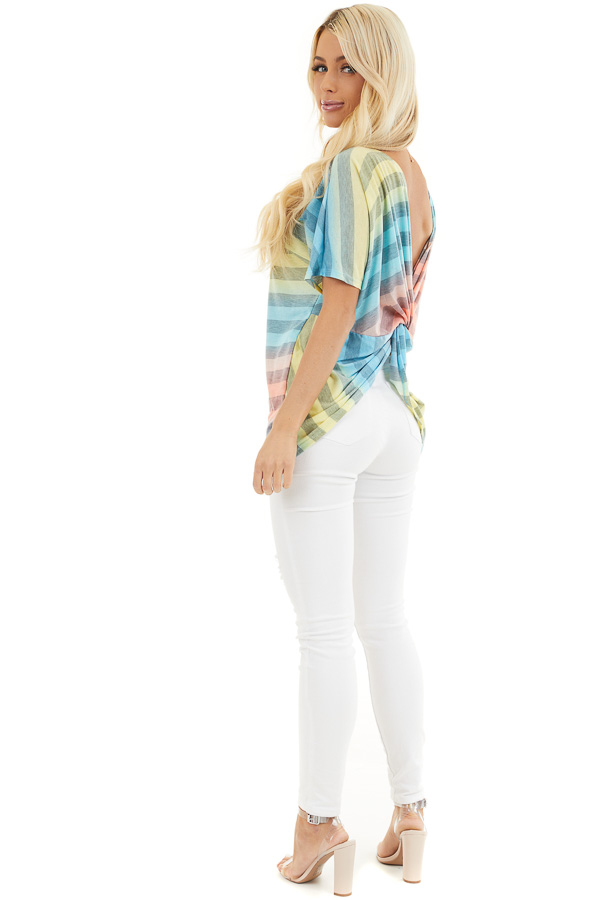 Blue Pink and Yellow Ombre Striped Top with Open Twist Back side full body