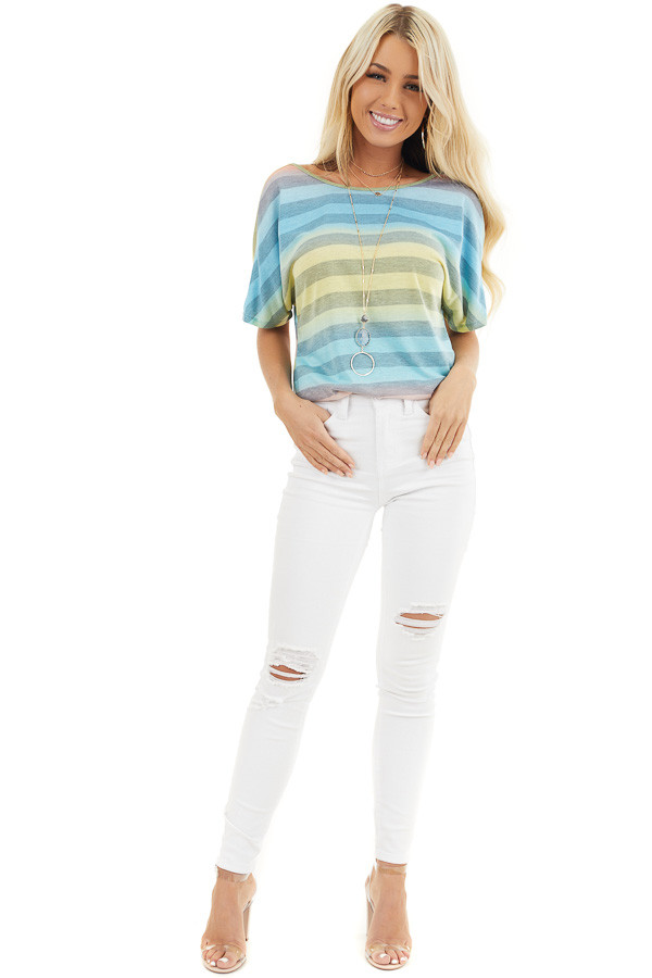 Blue Pink and Yellow Ombre Striped Top with Open Twist Back front full body