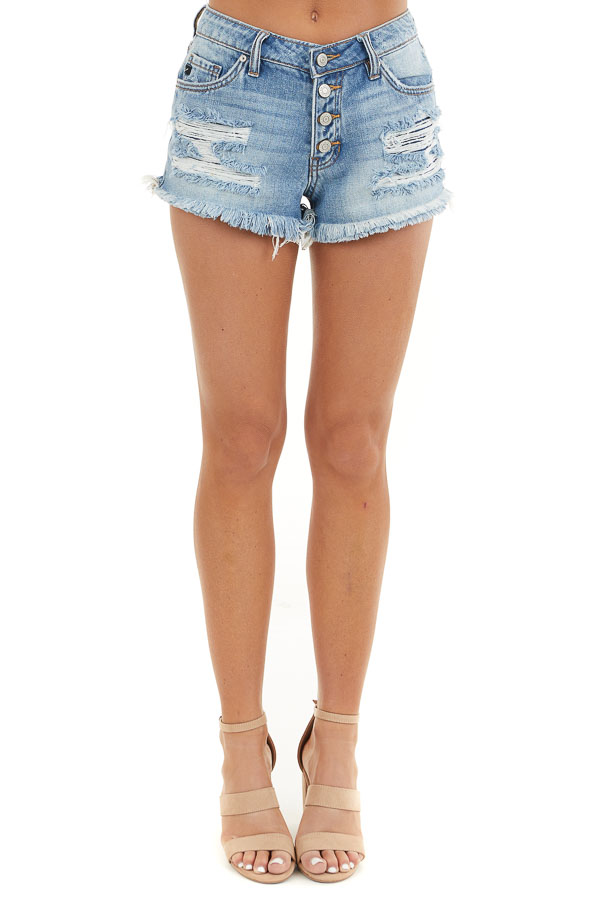 Medium Wash Distressed Button Up Mid Rise Denim Shorts front view