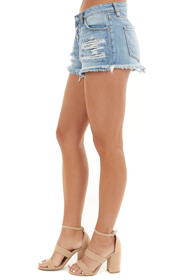 Medium Wash Distressed Button Up Mid Rise Denim Shorts side view