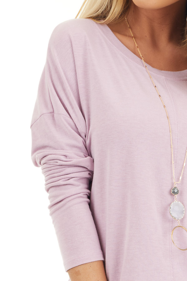 Dusty Blush Round Neck Top with Long Drop Shoulder Sleeves detail