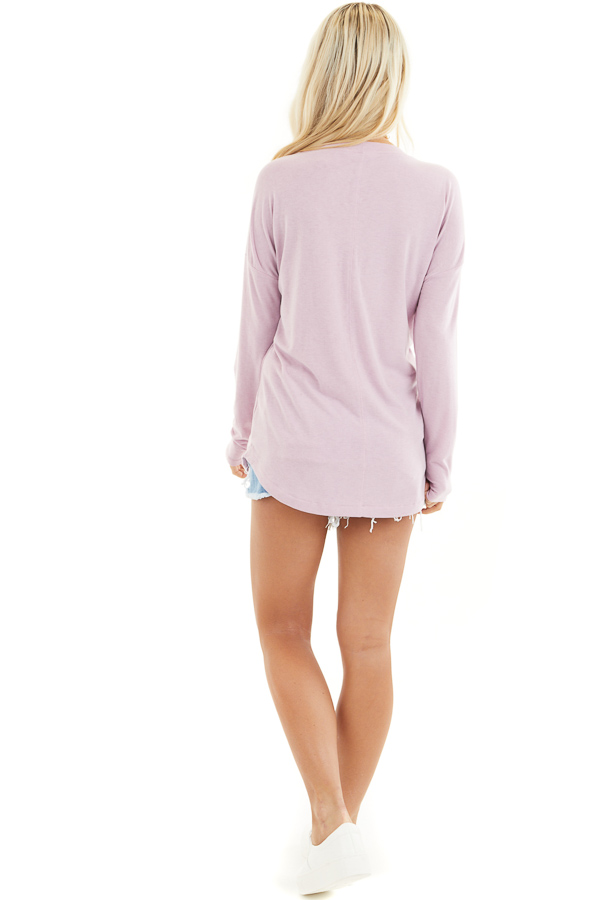Dusty Blush Round Neck Top with Long Drop Shoulder Sleeves back full body