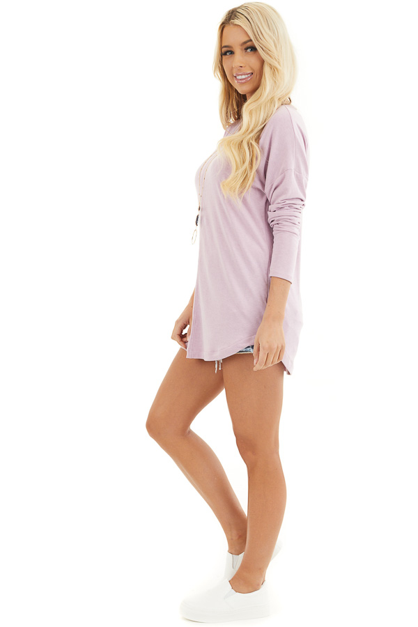 Dusty Blush Round Neck Top with Long Drop Shoulder Sleeves side full body