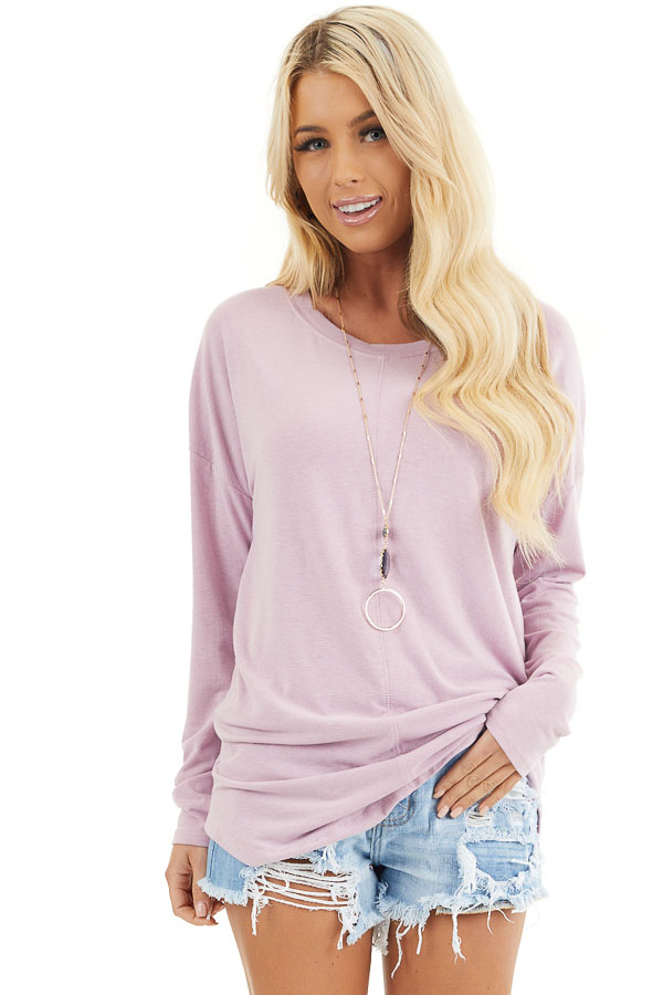 Dusty Blush Round Neck Top with Long Drop Shoulder Sleeves front close up