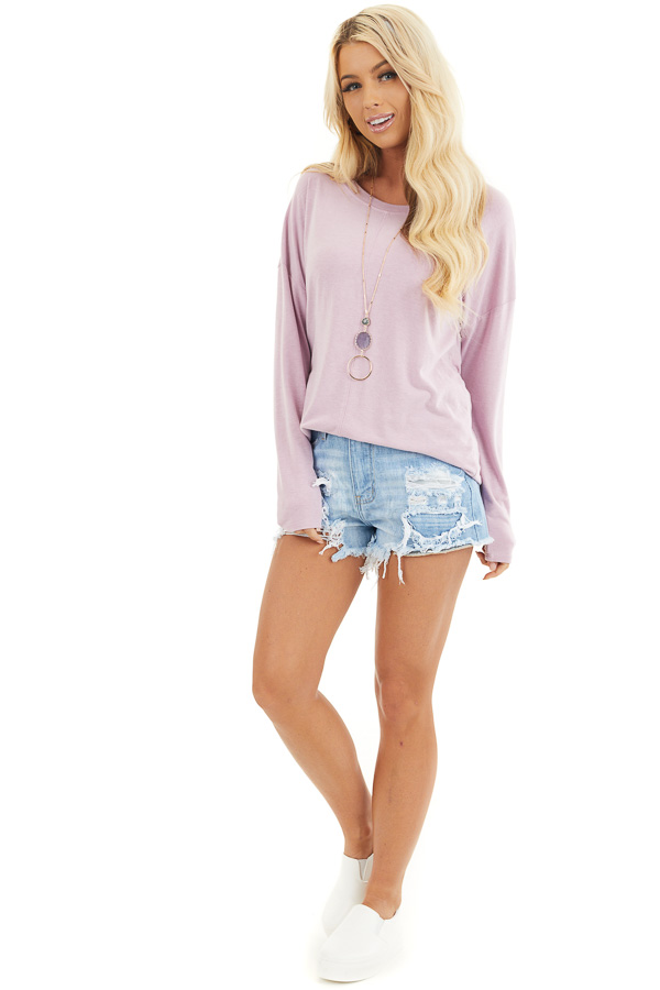 Dusty Blush Round Neck Top with Long Drop Shoulder Sleeves front full body