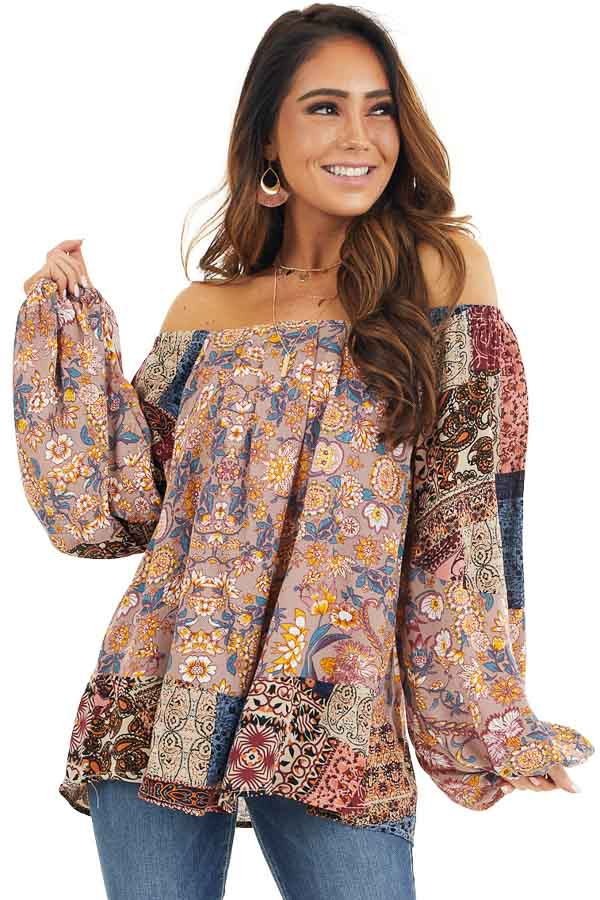Dusty Rose Multi Print Long Sleeve Blouse front close up