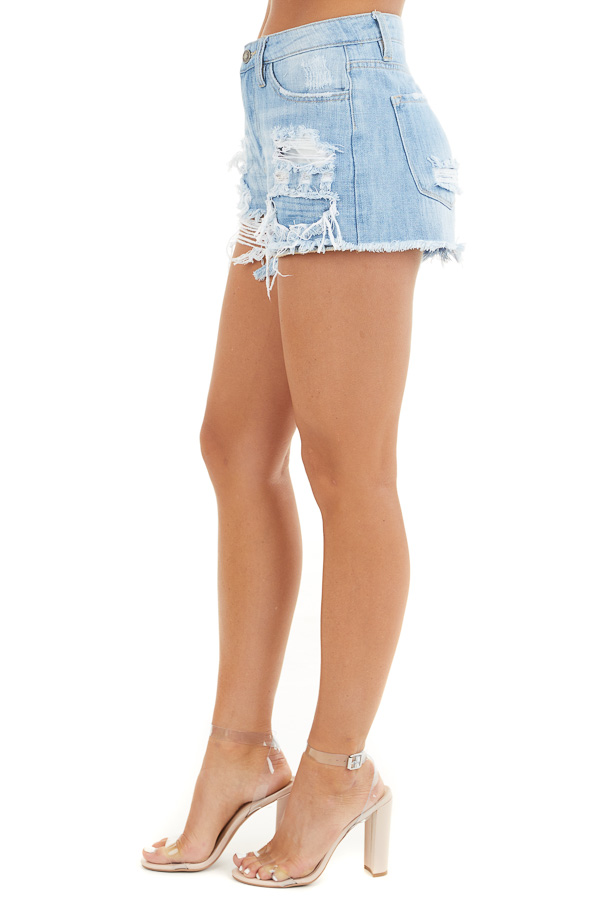 Light Wash High Rise Denim Shorts with Distressed Details side view